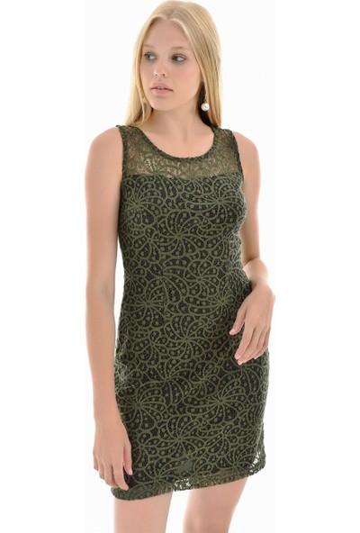 Sense Kadın Yesıl Robalı Dantel Elbise Blz32187