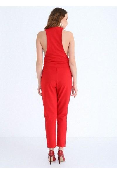 Sense Kadın Kırmızı Payet Detaylı Tulum Tlm13526