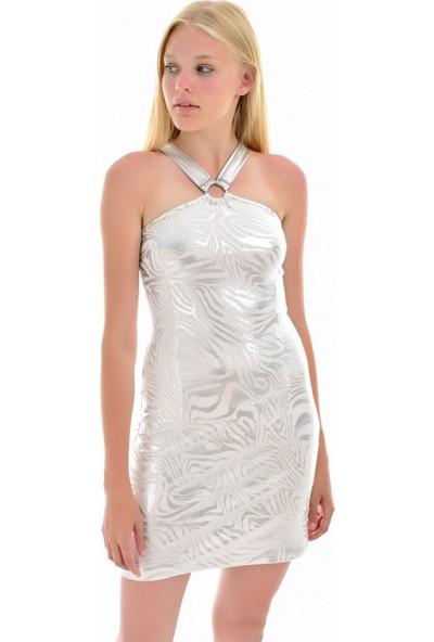 Sense Kadın Gümüş Çapraz Askılı Arkası Tokalı Elbise Elb32079