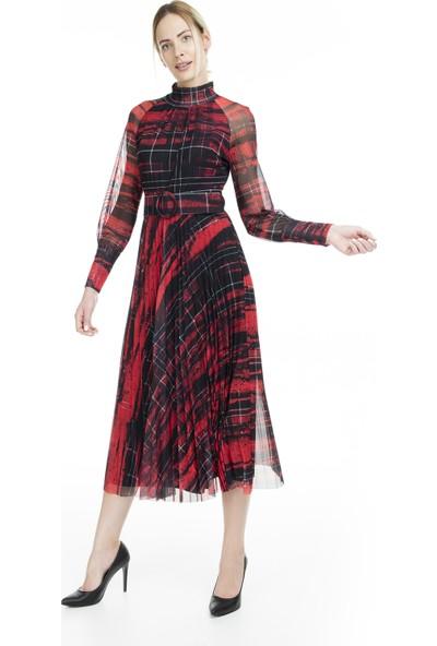 Via Dante Tül Detaylı Piliseli Kadın Elbise 1033551VD