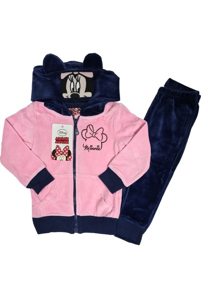 Disney Minnie Mouse Kapüşonlu Kadife Kız Çocuk Eşofman Takım