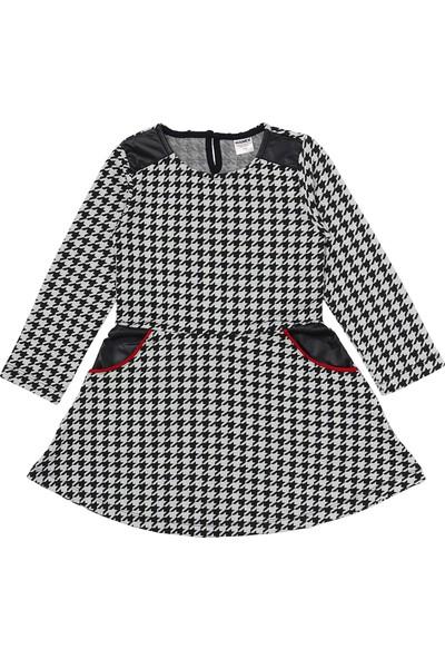 Vinrose Cep ve Deri Detaylı Kaşe Kız Çocuk Kışlık Elbise