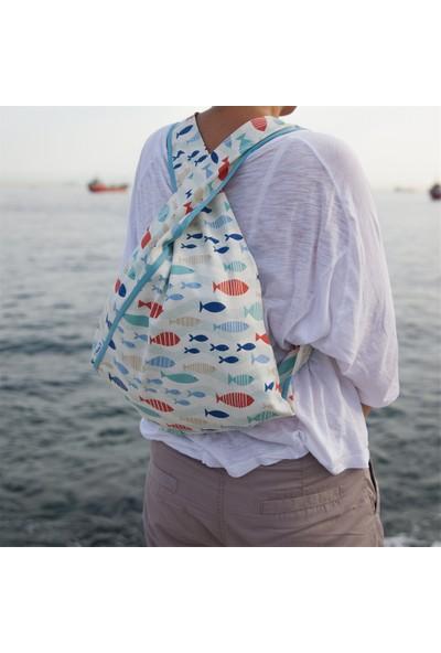 Beebag Omuz ve Sırt Çantası Balık Desenli - El İşi Çantalar
