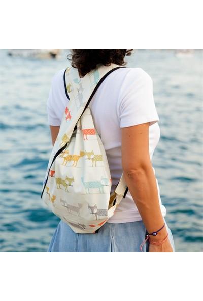 Beebag Omuz ve Sırt Çantası Tilki Desenli - El İşi Çantalar