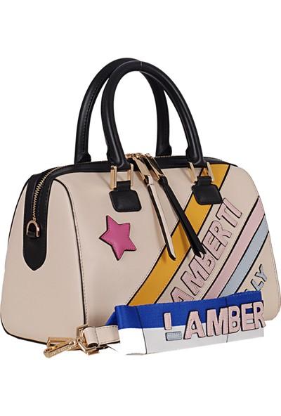 Lamberti 7151 Kadın Suni Deri El & Omuz Çantası Bej Pembe
