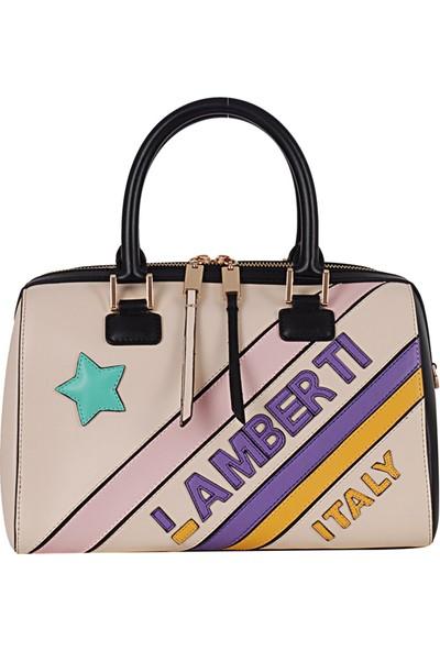 Lamberti 7151 Kadın Suni Deri El & Omuz Çantası Bej Su Yeşili