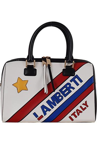 Lamberti 7151 Kadın Suni Deri El & Omuz Çantası Beyaz Sarı