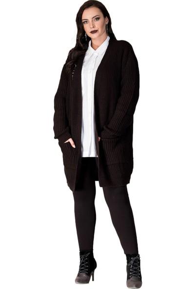 Hanezza Kadın Yırtık Detaylı Örme Triko Hırka T13356