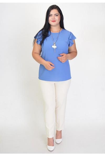 Karınca Moda Büyük Beden Kol Ucu Fırfırlı İndigo Bluz 30291