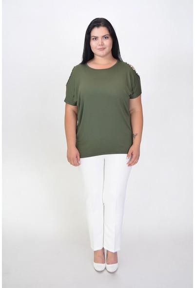 Karınca Moda Büyük Beden Omuz Boncuklu Yeşil Bluz 70225
