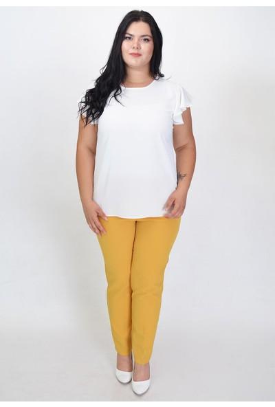 Karınca Moda Büyük Beden Sarı Pantolon 2323