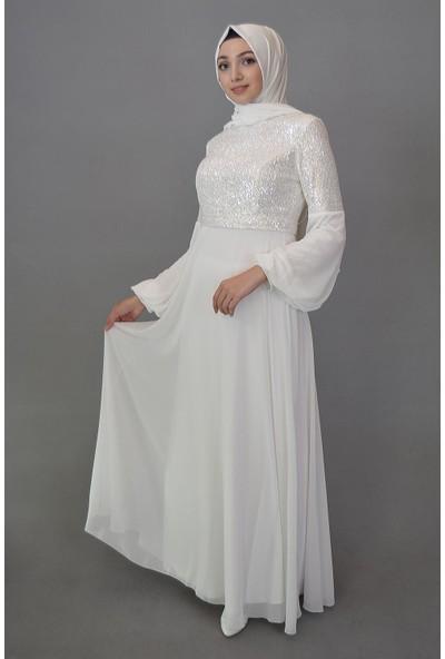 Karınca Moda Tesettür Beyaz Abiye 662