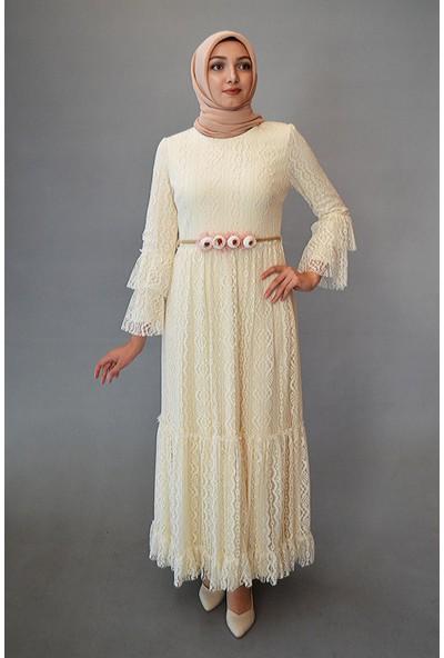 Karınca Moda Tesettür Beyaz Elbise 3594