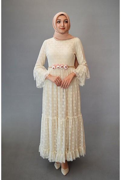 Karınca Moda Tesettür Beyaz Elbise 3594-01