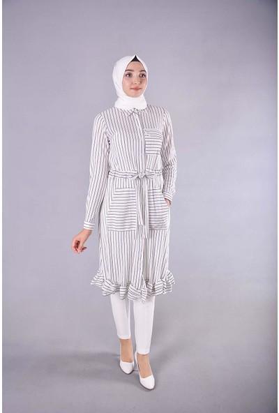 Karınca Moda Tesettür Beyaz Tunik Elbise 10065
