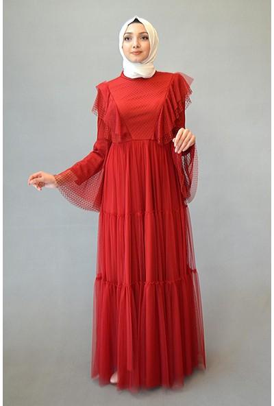 Karınca Moda Tesettür İspanyol Kol Hakim Yaka Tül Kırmızı Elbise 3868