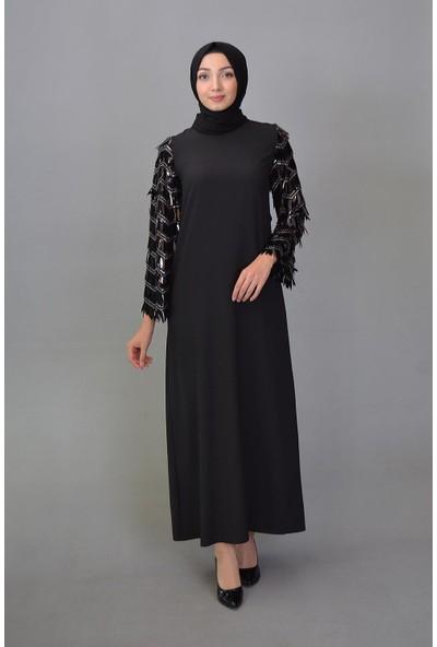 Karınca Moda Tesettür Kol Pullu Siyah Elbise 1655