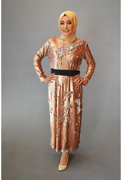 Karınca Moda Tesettür Pul Payetli Altın Elbise 2955-01