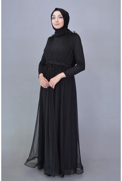 Karınca Moda Tesettür Siyah Elbise 3965
