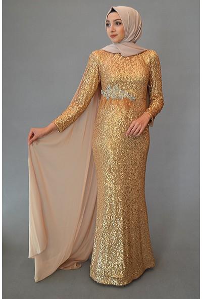 Karınca Moda Tesettür Tamamı Pul Payet Altın Abiye 3850