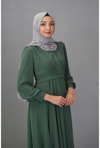 Karınca Moda Tesettür V Yaka Yeşil Elbise 12101