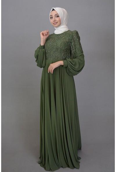 Karınca Moda Tesettür Yeşil Elbise 3869