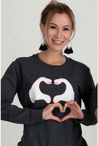 Moose 901207 Kalp Baskılı Bayan Sweat Füme