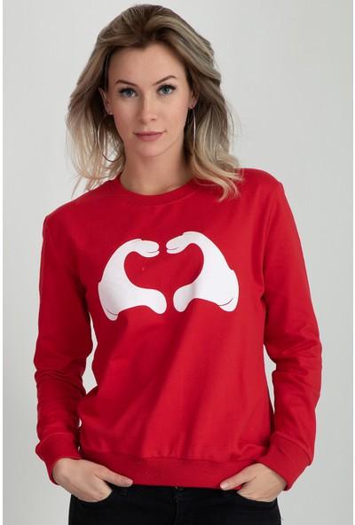 Moose 901215 Kalp Baskılı Bayan Sweat Kırmızı