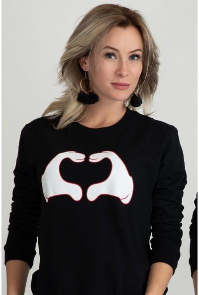 Moose 901229 Kalp Baskılı Bayan Sweat Siyah