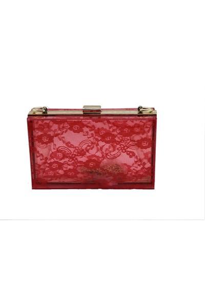 Rosa Kırmızı Şeffaf Kadın Portföy Çanta