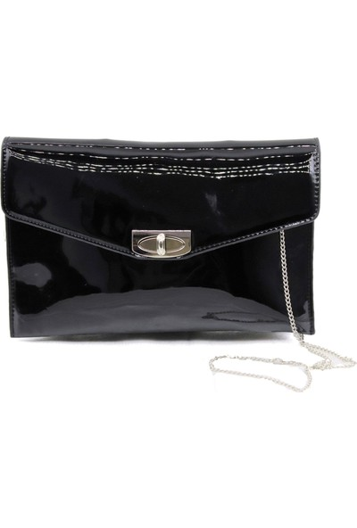 Sanmorris Siyah Rugan Kadın Clutch Çanta