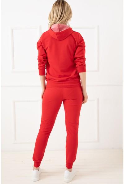 Fuschya 488620-9 Kadın Kapşonlu Eşofman Takımı Kırmızı