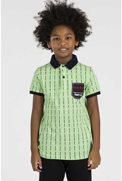 Tommy Life Baskılı Cep Detay Yeşil Polo Yaka Çocuk Tshirt