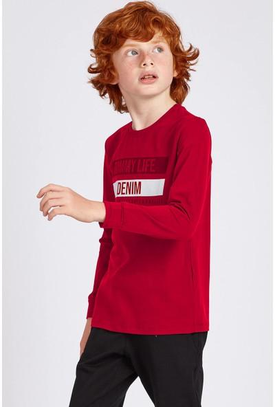 Tommy Life Denim Baskılı Kırmızı Erkek Çocuk Sweatshirt