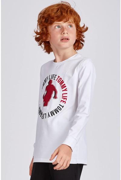 Tommy Life Ön Baskılı Beyaz Erkek Çocuk Sweatshirt