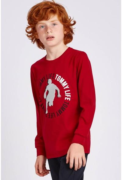 Tommy Life Ön Baskılı Kırmızı Erkek Çocuk Sweatshirt