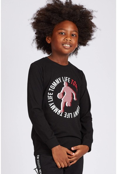 Tommy Life Ön Baskılı Siyah Erkek Çocuk Sweatshirt