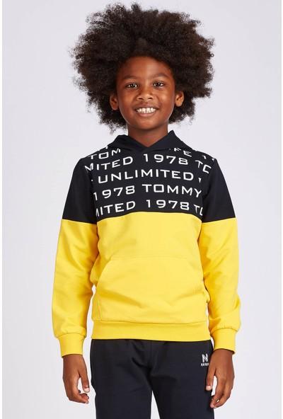 Tommy Life Kapşonlu Yazı Baskılı Sarı Erkek Çocuk Sweatshirt