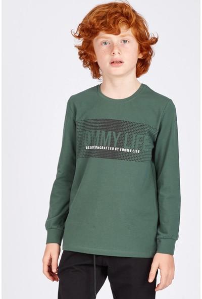 Tommy Life Baskı Detaylı Yeşil Erkek Çocuk Sweatshirt