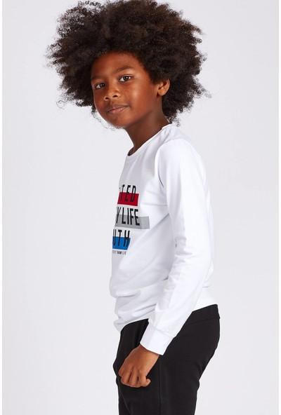 Tommy Life United Youth Baskılı Beyaz Erkek Çocuk Sweatshirt
