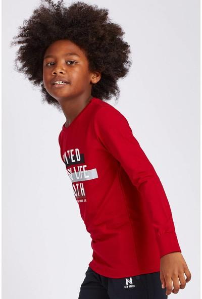 Tommy Life United Youth Baskılı Kırmızı Erkek Çocuk Sweatshirt