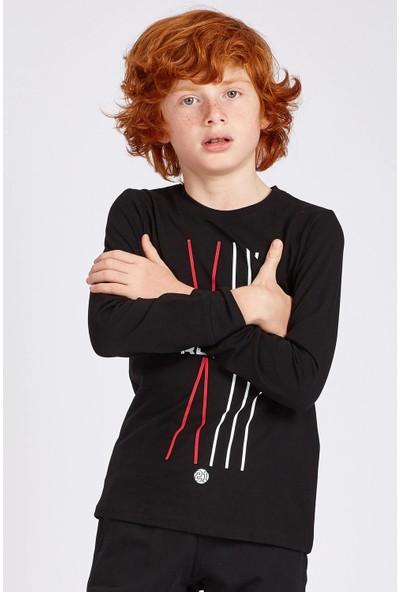 Tommy Life Runner Baskılı Siyah Erkek Çocuk Sweatshirt