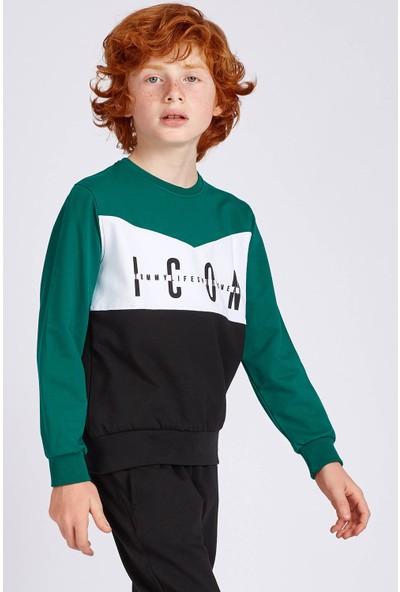 Tommy Life Icon Baskılı Açık Yeşil Erkek Çocuk Sweatshirt