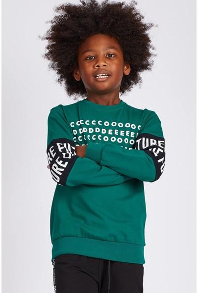 Tommy Life Future Kol Baskılı Açık Yeşil Erkek Çocuk Sweatshirt