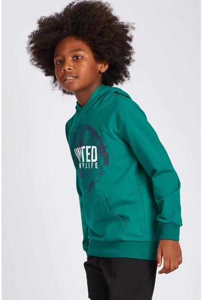 Tommy Life Kapşonlu United Baskılı Açık Yeşil Erkek Çocuk Sweatshirt