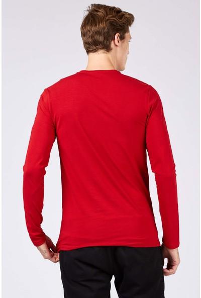 Tommy Life Sportwear Yazı Baskılı Kırmızı Erkek Sweatshirt