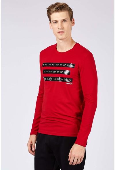 Tommy Life Baskılı Kırmızı Erkek Sweatshirt