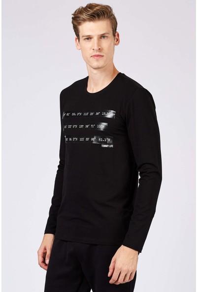 Tommy Life Baskılı Siyah Erkek Sweatshirt