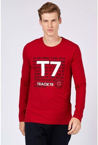Tommy Life T7 Baskılı Kırmızı Erkek Sweatshirt