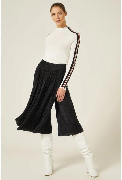 Join Us Kadın Pilise Detaylı Simli Beli Lastikli Pantolon Etek